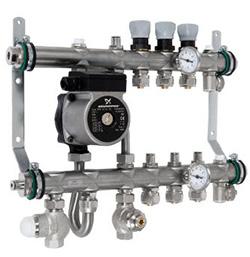 Коллектор с интегрированным смесительным узлом, оборудование и материал для теплого пола